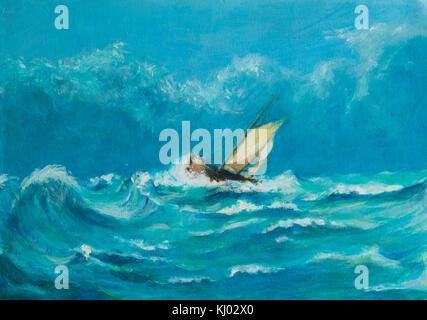 Pintura al óleo original de lonely pequeño velero luchando en una tormenta en el mar