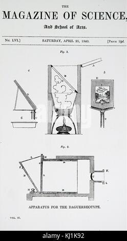 Grabado representando el aparato utilizado para aprovechar y desarrollar daguerrotipo fotografías inventado por Louis Daguerre. Louis Daguerre (1787-1851), un artista francés, inventor y fotógrafo. Fecha del siglo XIX