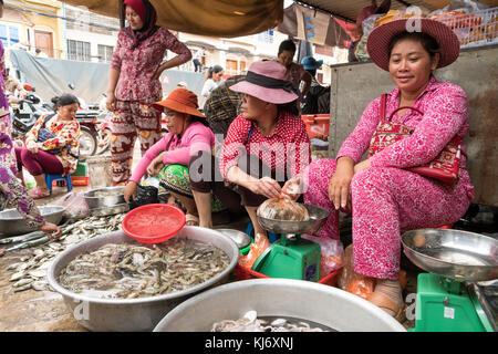 Frauen auf dem Fischmarkt en Kampot, Kambodscha, Asien | mujeres en el mercado de pescado en Kampot, Camboya, Asia