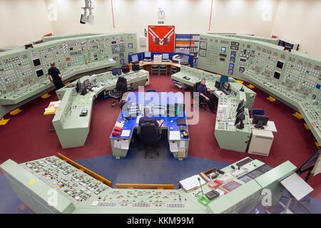 La sala de control en Hunterston B estación de energía nuclear cerca de West Kilbride, Escocia.