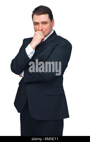 Apuesto hombre de negocios maduros aislados contra un blanco mirando hacia adelante en el pensamiento