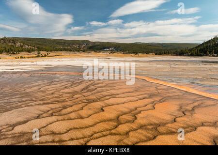 Mat bacteriana en Grand Prismatic Hot Spring en el Parque Nacional Yellowstone, Wyoming