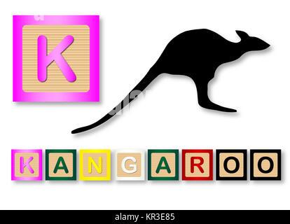 Kangaroo aislados. Dibujo de un niño canguro Ilustración del Vector ...