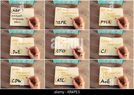 Collage fotográfico de acrónimos de negocios escrito en portátiles