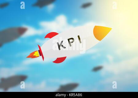 Grupo de KPI o Key Performance Indicator diseño plano rocket
