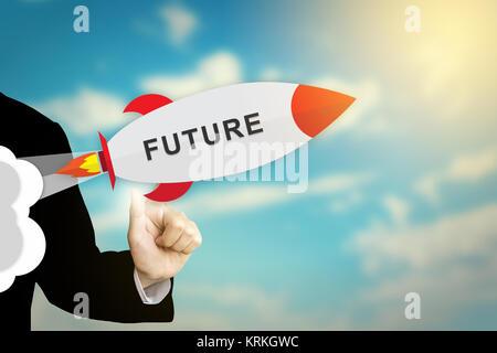 Haga clic en el futuro cohete mano de negocios