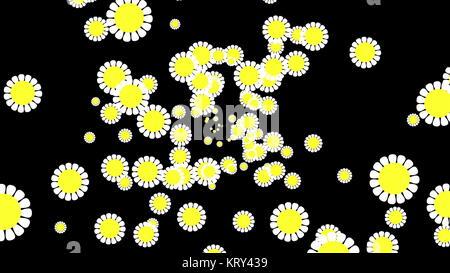 Fondo de flores de gráficos por ordenador. Color blanco y amarillo Foto de stock