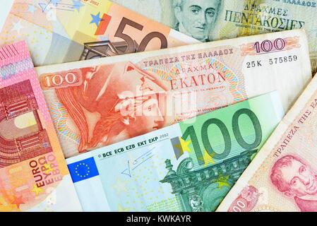 Griego y, Griechische drachms euronotes Drachmen und Euroscheine