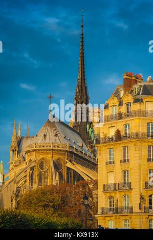 Arquitectura de París, el extremo oriental de la catedral de Notre Dame, junto a un típico edificio del siglo XIX en la Ile de la Cite en París, Francia.