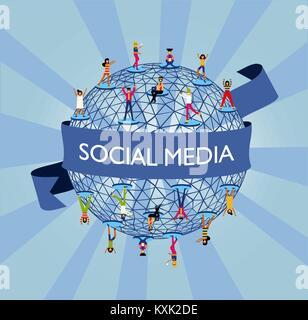Ilustración del concepto mundial de medios sociales, personas de todo el mundo conectado a la red de internet. Vector EPS10.