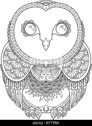 Vector zendoodle ornamentada owl ilustración. Lindas telas funny ...