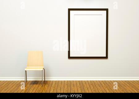Gran pared en blanco en una habitación vacía con un piso de madera y ...