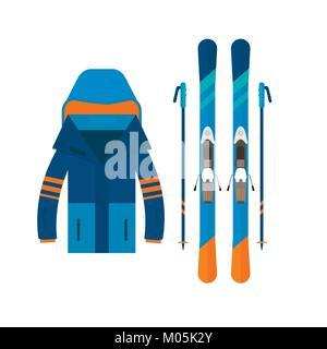 Iconos del deporte de invierno jaket y esquí. El esquí y el snowboard establecer equipos aislados sobre fondo blanco en un diseño plano. Elementos para ski resort