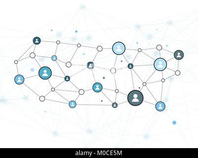Red Social de diseño vectorial ilustración del concepto con los iconos de usuario