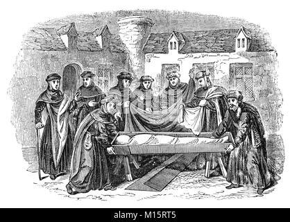 La ceremonia fúnebre de un difunto monje en un convento inglés del siglo 14.