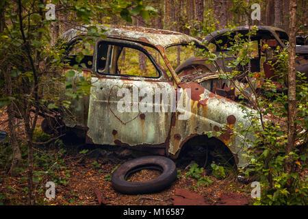 Rusty coche viejo naufragio abandonados en el bosque.
