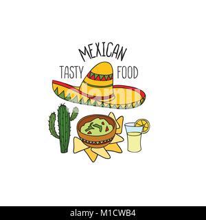 Símbolo de comida mexicana. Cocina Nacional. Platillo Mexicano garabatos firmar. Fastfood iconos con instrumentos musicales y sombrero sombrero.