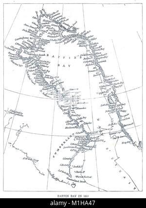 Mapa de la Bahía de Baffin en 1819.