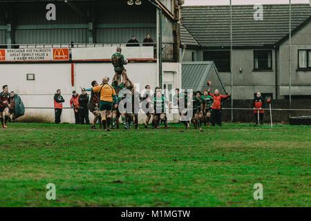 Penryn vs Hayle RFC RFC en el Memorial Stadium, Penryn, Cornualles, en el Reino Unido, 27 de enero de 2018