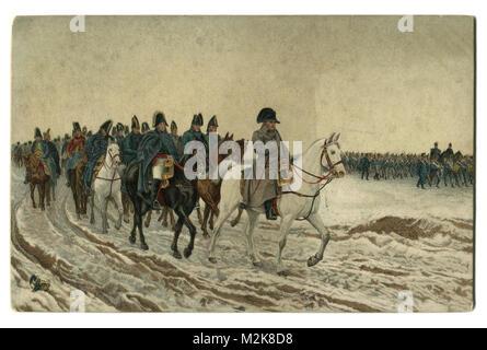 """Viejas postales: pintura 1864 """"Campaña en Francia 1814' el artista francés Ernest Meissonier, Napoleón y su personal regresar después de la batalla de Soissons Foto de stock"""