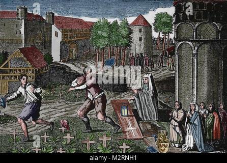 Cotillion fantasma de las almas de la Muerte Negra víctimas que fueron enterrados vivos, 1347. Grabado alemán, 1604.