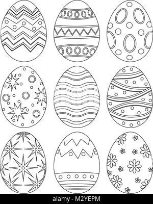 Una ilustración vectorial de niños pintura de huevos de Pascua en ...