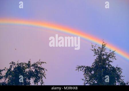Arco iris sobre un cielo azul. Fenómeno natural
