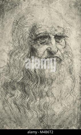 Autorretrato de Leonardo Da Vinci, circa 1512 Foto de stock