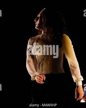 Londres, Reino Unido. 18 Feb, 2018. Ursula López, actuando como parte del Festival Flamenco en el Sadler's Wells. Foto de stock