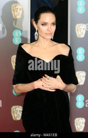 Londres, Reino Unido. 18 Feb, 2018. Angelina Jolie, EE British Academy Film Awards (BAFTA) - Royal Albert Hall, Foto de stock