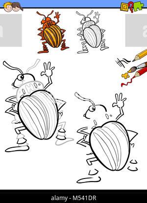 Escarabajo de insectos para colorear dibujos animados Ilustración ...