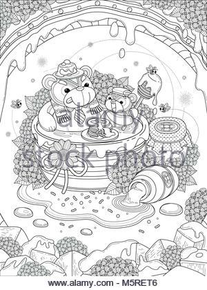 Preciosa página para colorear de adultos, gourmets bear family ...