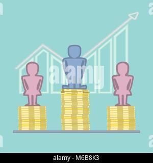 Símbolos masculinos y femeninos de pie en la parte superior de los montones de monedas con gráfico de barras en el fondo - ilustración del concepto de brecha de género