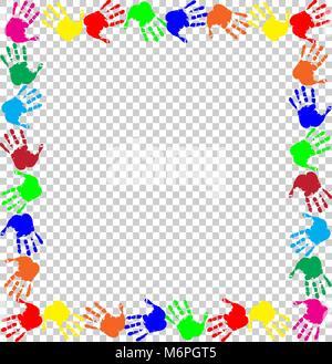 Arco iris brillante armadura con copia vacía espacio para texto o imagen y huellas multicolores frontera aislado sobre fondo transparente. Festiva vectoriales tem Foto de stock