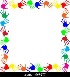 Arco iris de colores de marco de trabajo con copia vacía espacio para texto o imagen y huellas multicolores frontera aislado sobre fondo blanco. Vector te festivo Foto de stock
