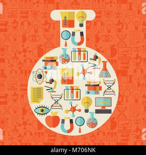 Ilustración del concepto de ciencia en forma de tubo.