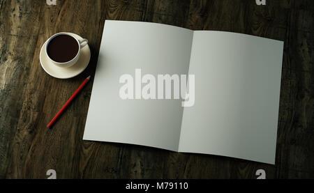 3D Render boceto bi-pliegue doble plegado vertical A4 hoja de papel en blanco, un folleto, un folleto, una revista con un lápiz rojo y una taza de café en un texto oscuro