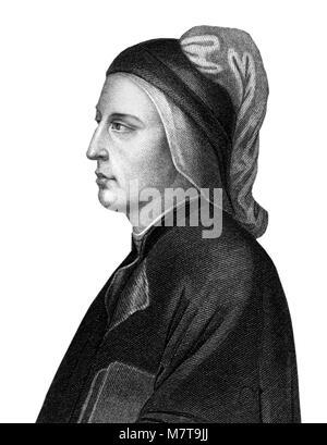 Dante Alighieri (1265-1321), un 19thC grabado del poeta y estadista italiano de finales de la edad media.