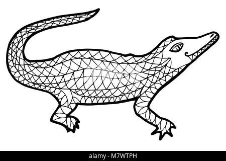 Crocodile ilustración vectorial. Alligator maraña zen, zen doodle ...