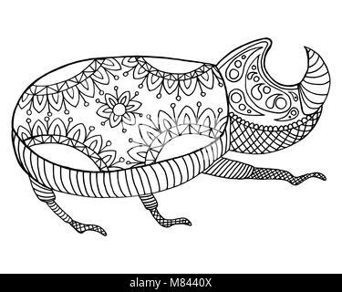 Maraña patrón y zen doodle bug. Escarabajo insecto vector ...