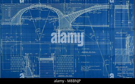 Diseño de tres span doble vía férrea Puente arco de hormigón armado (1907) (14760844195)
