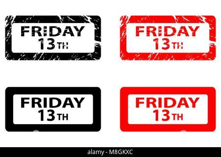 El viernes día 13 - Grunge - sello de caucho negro y rojo, el viernes 13, viernes 13 - ADHESIVO,