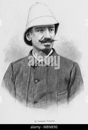 El explorador francés Fernand Foureau Foureau-Lamy durante la expedición en el Chad, en 1900, la imagen del semanario Foto de stock