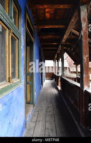 Porche Terraza Con La Pared Pintada De Azul Y Cepas De Vid