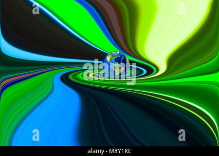 Planeta Tierra en remolinos de fondo de colores