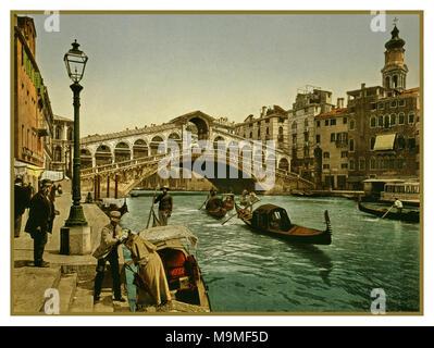 Puente Rialto Venecia GONDOLA Fotocroma 1890-1900's Vintage histórica antigua imagen del Puente de Rialto, Venecia, Italia 1890 utilizando la técnica de coloración posterior transferencia a través de las planchas de impresión litográfica de imágenes negativas en blanco y negro