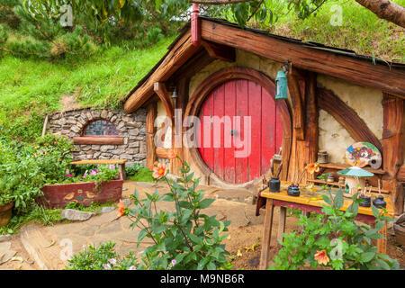 Nueva Zelanda Nueva Zelanda Matamata Hobbiton Hobbiton plató aldea ficticia de Hobbiton en la comarca de El Hobbit y el señor de los anillos libros