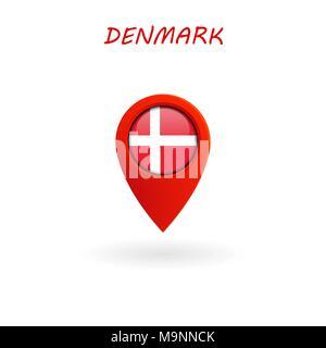 El icono de ubicación de Dinamarca la bandera, Vector, la ilustración, el archivo Eps