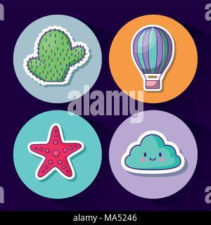 Conjunto de iconos de lo kawaii cloud y lindo concepto a lo largo de círculos de colores y fondo azul, ilustración vectorial