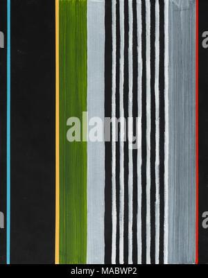 Una pintura abstracta; rayas de color sobre un fondo negro.